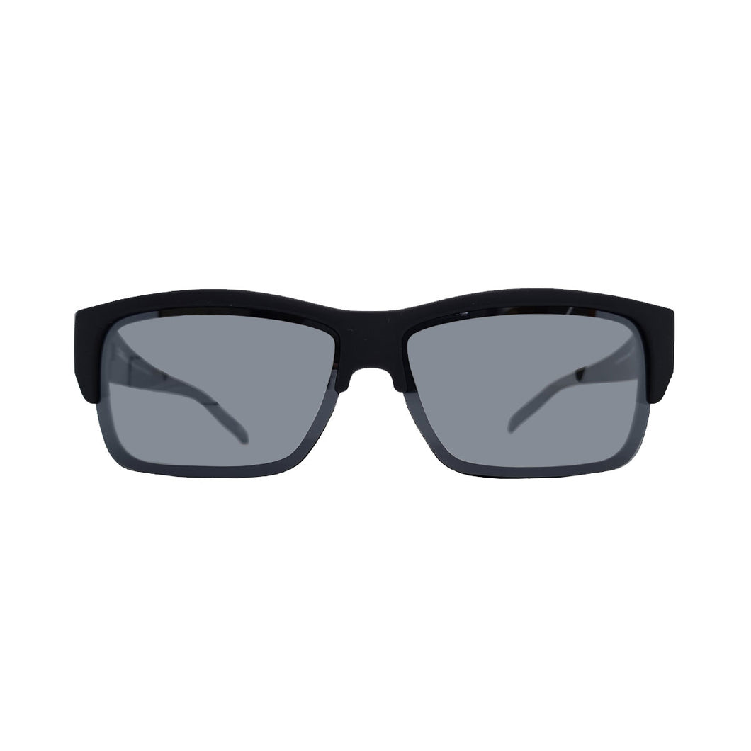 MATT BLACK POLARIZED COVER SUN GLASSES POLARIZED GREY MIRROR