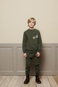 Wheat DK - Khaki sweatshirt with badges