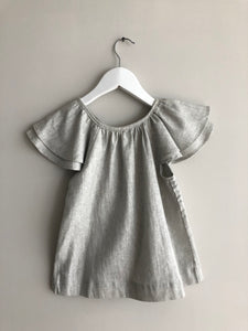 Kids Arcade - Silver grey linen ruffle top