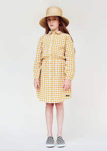 Yellow gingham shirt dress