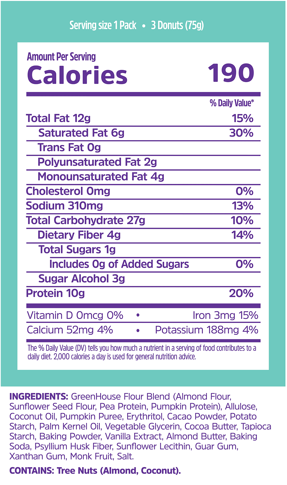 Nutrition facts for GreenHouse Foods plant-based chocolate donut