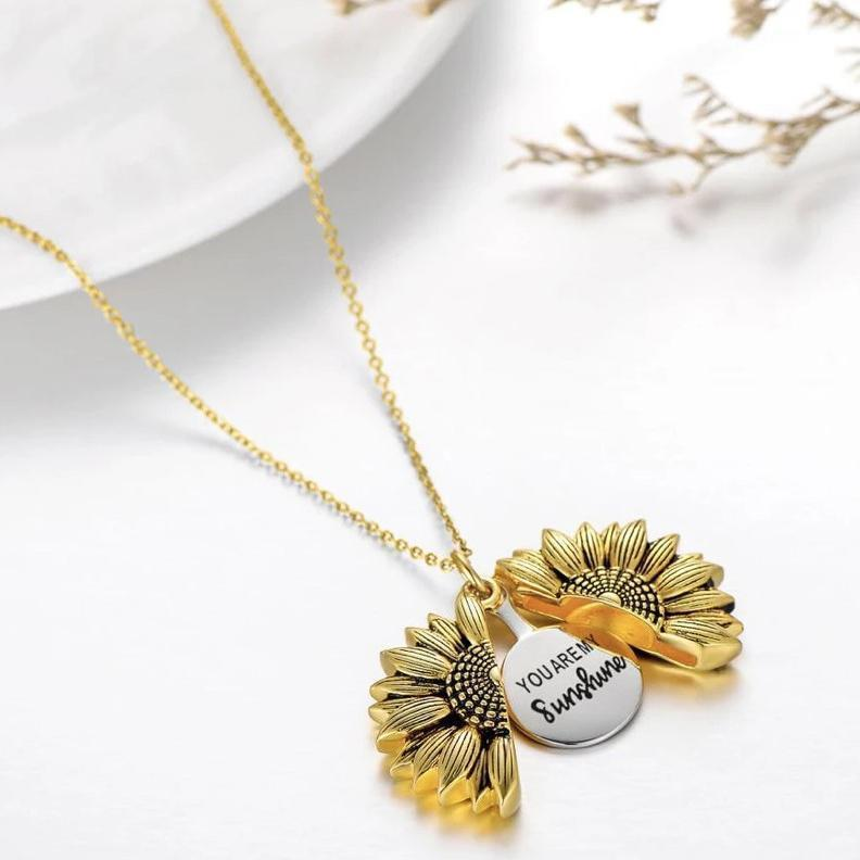 You Are My Sunshine Sunflower Necklace Narzorz Gold