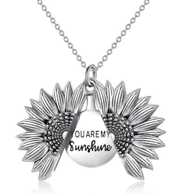 You Are My Sunshine Sunflower Necklace Narzorz Silver