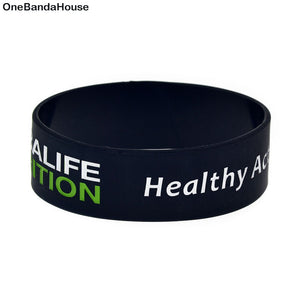 OBH 1PC 1 Inch Wide Healthy Active Lifestyle Silicone Wristband