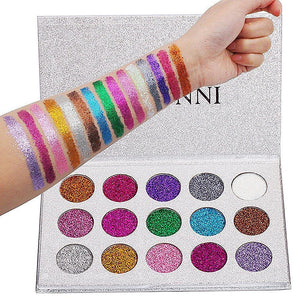 VERONNI 15 Colors Glitter Eyeshadow Palette