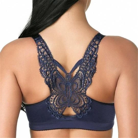 2020 NEW DOUBLE Butterfly Embroidery Front Closure Wireless Adjustable Gather Bra