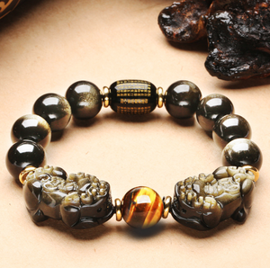 Natural Gold Obsidian Double Pi Yao Wealth Bracelet