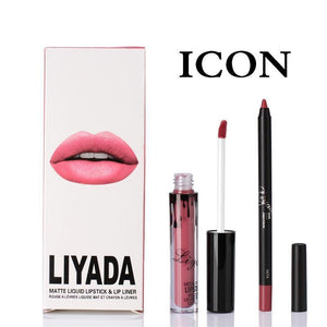 LIYADA Matte Liquid Lip Gloss Lip Pencil Set