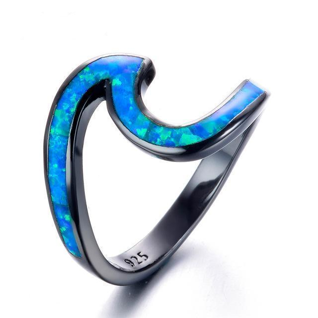 Ocean Blue Wave Rings