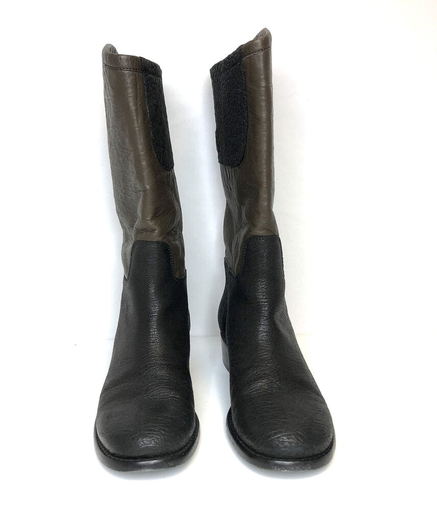 Chanel women Boots Black Brown 38.5