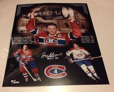 Jean Beliveau Signed Montreal Canadiens 16x20 Photo