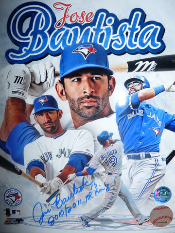 "Jose Bautista Signed Toronto Blue Jays 16x20 Photo with ""HR King"""