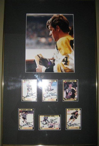 Bobby Orr Signed Boston Bruins 6 Card Framed Set