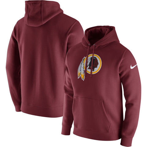 Men's Washington Redskins Burgundy Club Fleece Logo Pullover Nike Hoodie