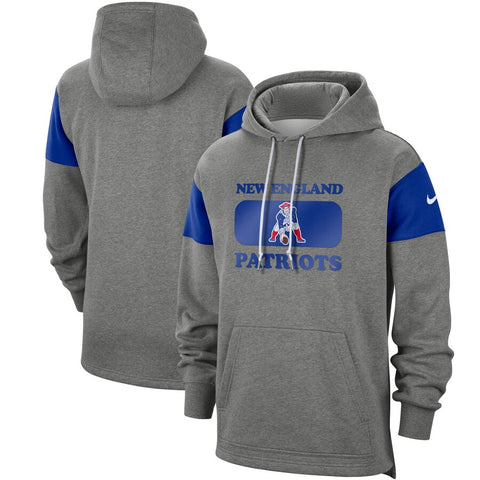 Men's Nike Heathered Grey New England Patriots  Pullover Hoodie