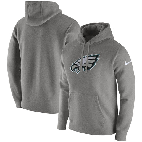 Men's Nike Grey Philadelphia Eagles Club Logo Fleece - Pullover Hoodie