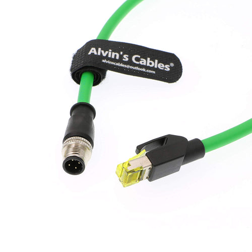 Alvin's Cables M12 4 Pin to RJ45 Industrial Ethernet Cable 4 Position D Coded Network Cord CAT5 Shielded Cable 1M