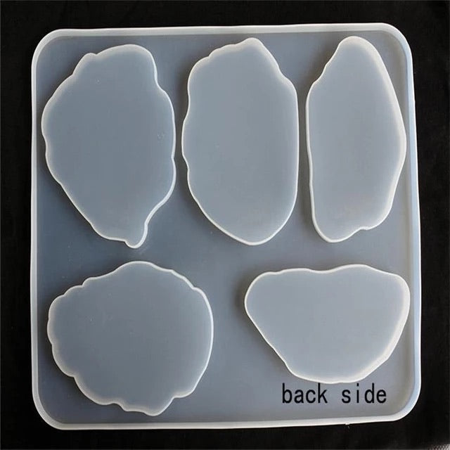 Agate tray 5 in 1 clear silicone mould