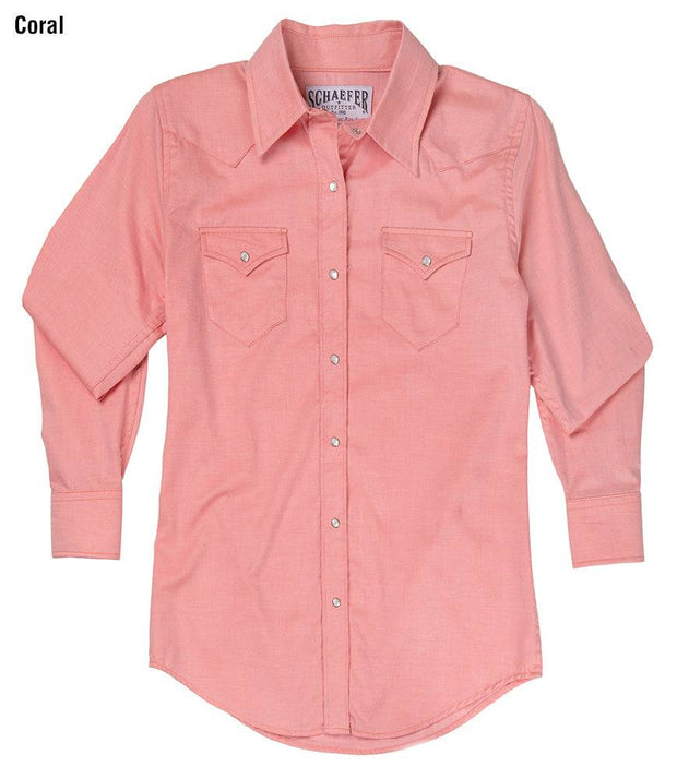 Prairie Lite Western Shirt in Coral (pink), front