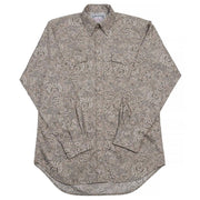 Frontier Paisley Western Shirt with Buttons in Beige, front