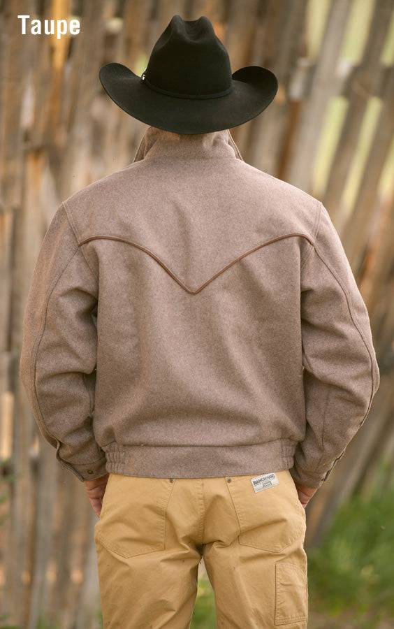 Cowboy wearing Bighorn Bomber Coat in Taupe (light brown-grey), back