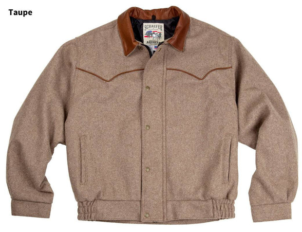 Cowboy wearing Bighorn Bomber Coat in Taupe (light brown-grey), front