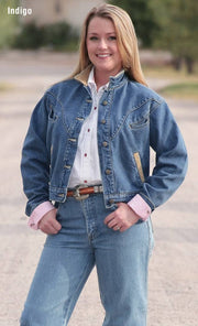 Cowgirl wearing Chisholm Legend Denim Jacket
