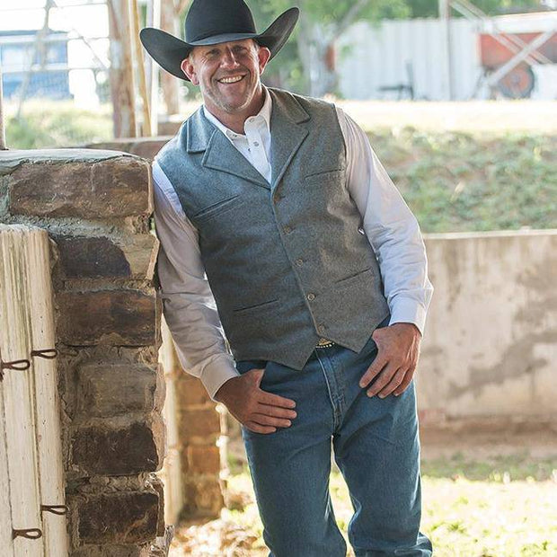 Cowboy wearing McCoy Vest in Heather Gray