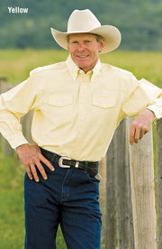 Cowboy wearing Western Classic Pinpoint Western Shirt in Yellow