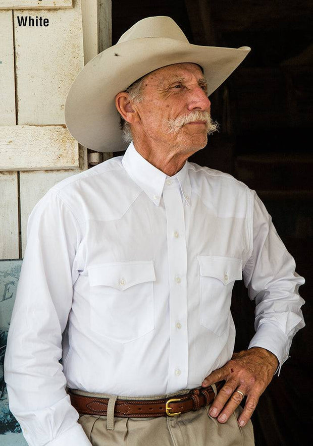Cowboy wearing Western Classic Pinpoint Western Shirt in White