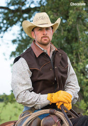 Cowboy wearing Competitor Vest in Chocolate (dark brown)