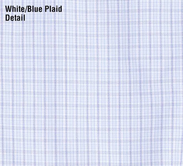 Reserve Pattern Western Shirt in White/Blue Plaid, fabric detail