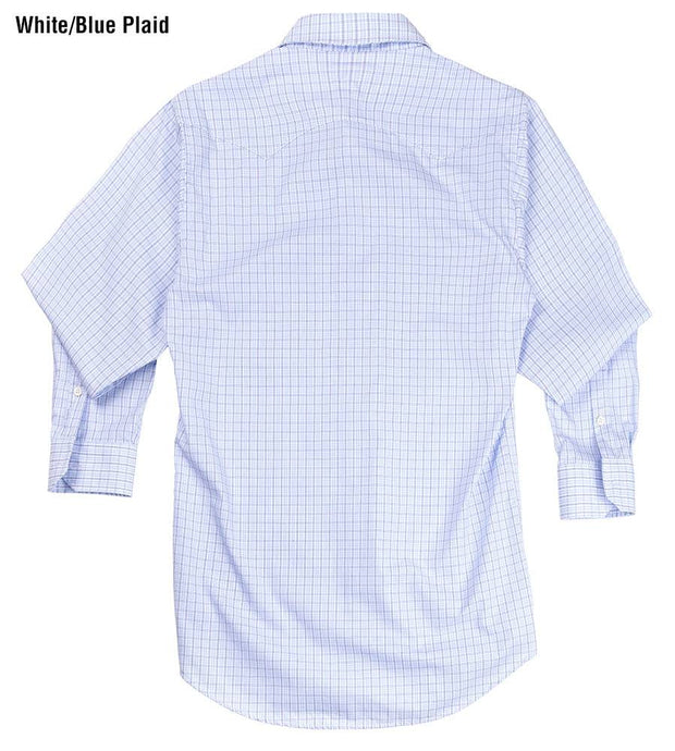 Reserve Pattern Western Shirt in White/Blue Plaid, back