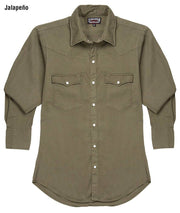 Cowboy wearing Vintage Ranch Western Shirt in Jalapeño (dark green), front