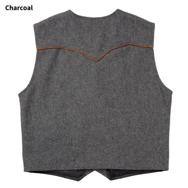 Stockman Vest in Charcoal (grey), back