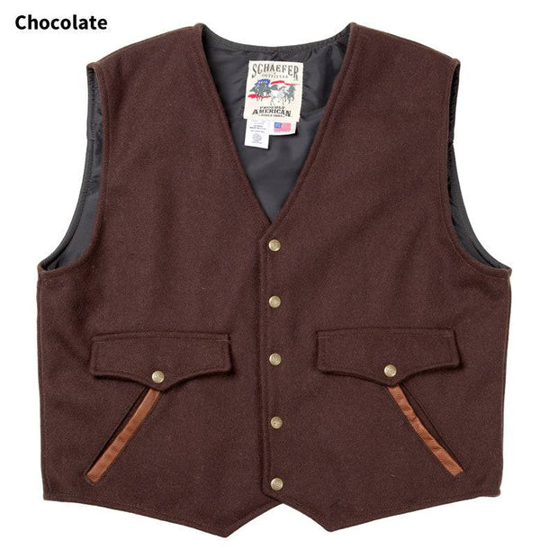 Stockman Vest in Chocolate (dark brown), front