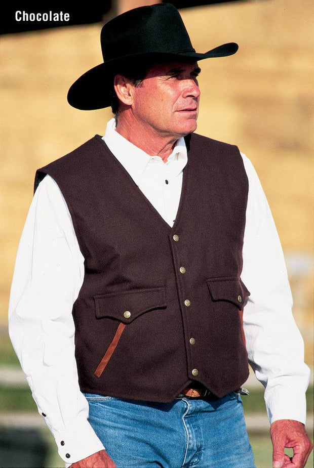 Cowboy wearing Stockman Vest in Chocolate (dark brown)