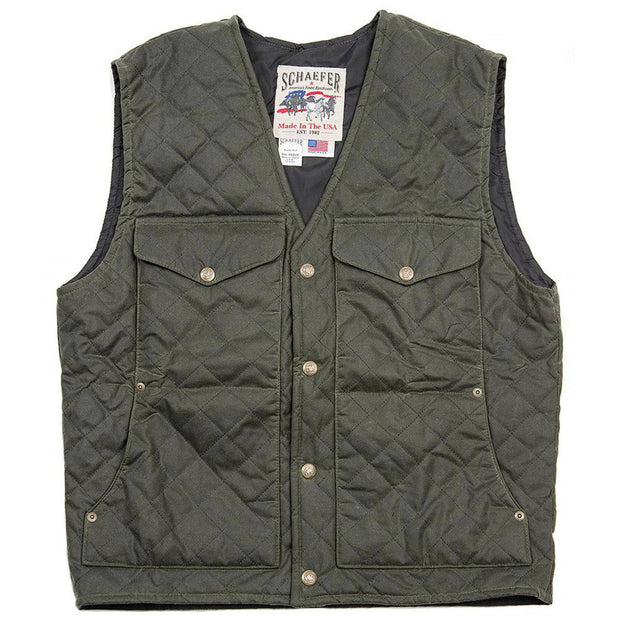 Blacktail Quilted RangeWax Vest in Loden (green), front