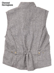 Herringbone Cheyenne Vest in Charcoal (grey), back