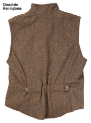 Herringbone Cheyenne Vest in Chocolate (brown), back