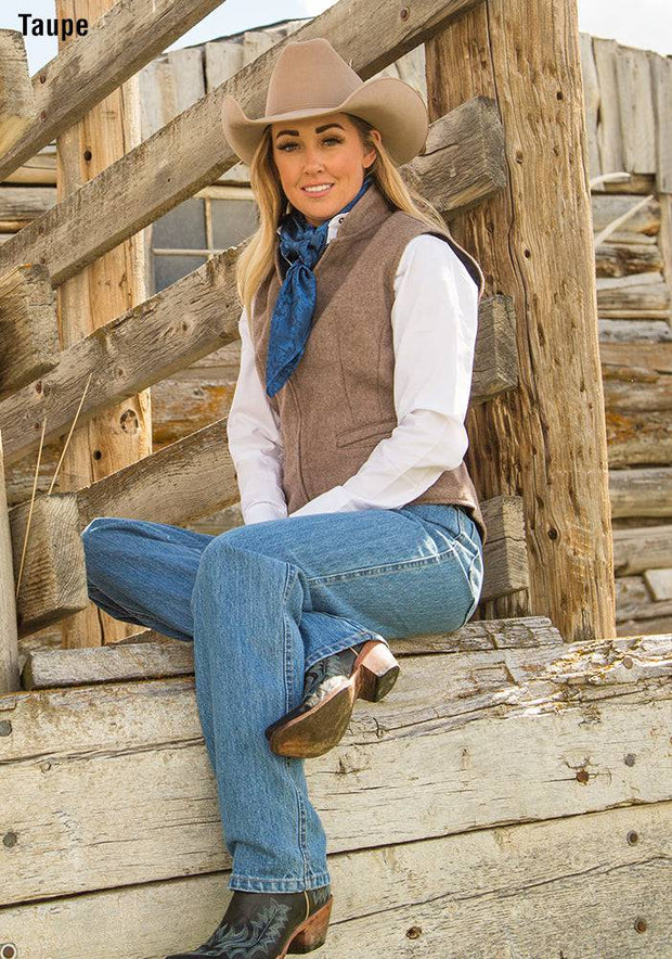 Cowgirl wearing Cheyenne Wool Vest in Taupe (light brown-grey)