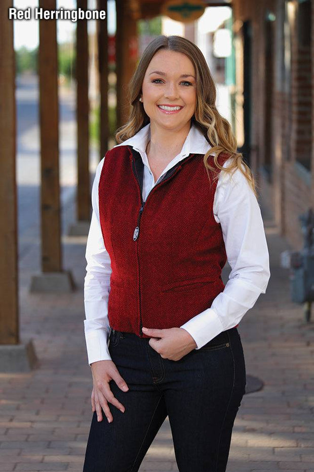 Model wearing Herringbone Cheyenne Vest in Red