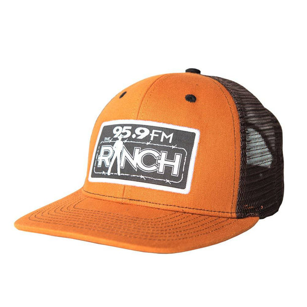 The Official Burnt Orange trucker hat for The Ranch 95.9 FM, front