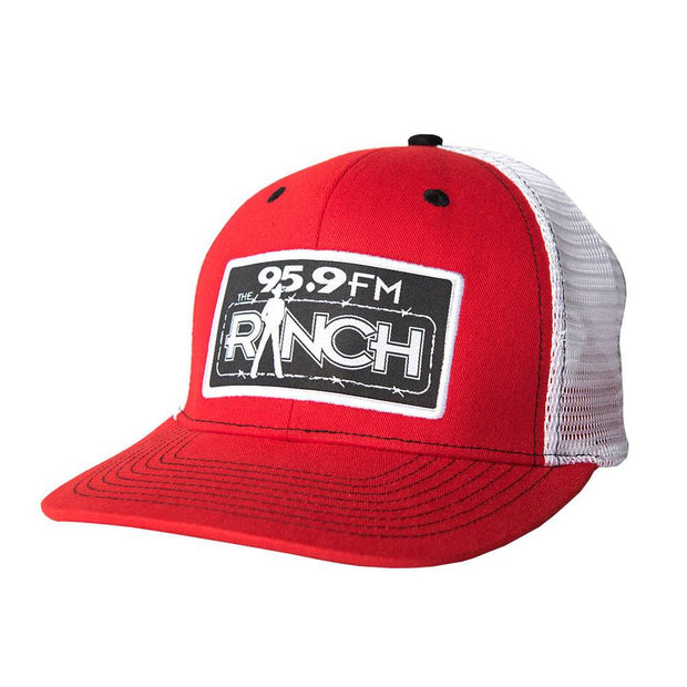 The Official Red trucker hat for The Ranch 95.9 FM, front