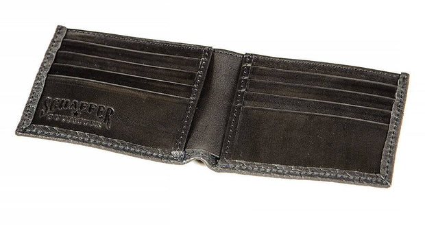Caprock Bison Bi-Fold Wallet in Black, open