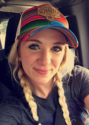 Model wearing Serape Trucker hat