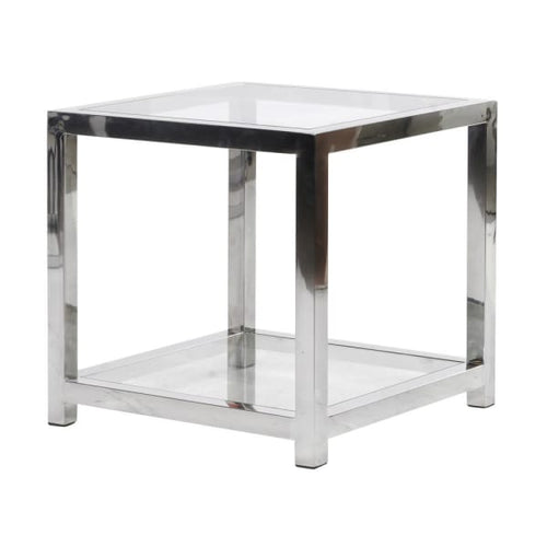 Chrome Cube End Table with Clear Glass Top