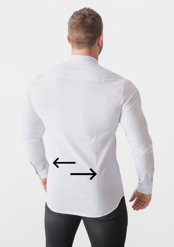 Darting a Shirt by Tapered Menswear. Arrows showing where darts are on the back of a mens dress shirt