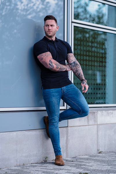 Can Polo Shirts Be Tailored? Navy polo shirt by Tapered Menswear fitted in length
