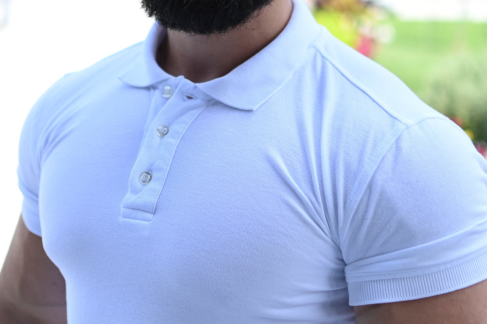 best athletic fit polo shirts in white
